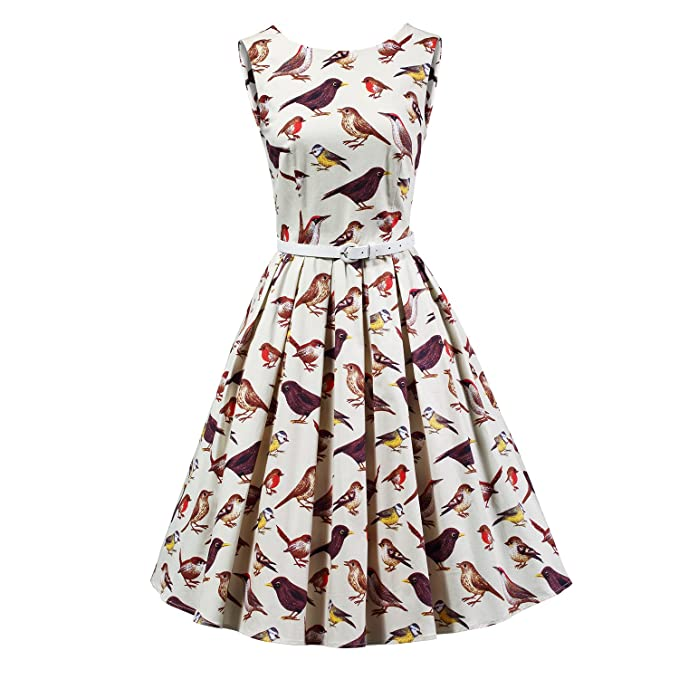 864e21929435 Image Unavailable. Image not available for. Colour: LUOUSE Women's Vintage  1950s Sleeveless Birds Print Cocktail Party Swing Dresses