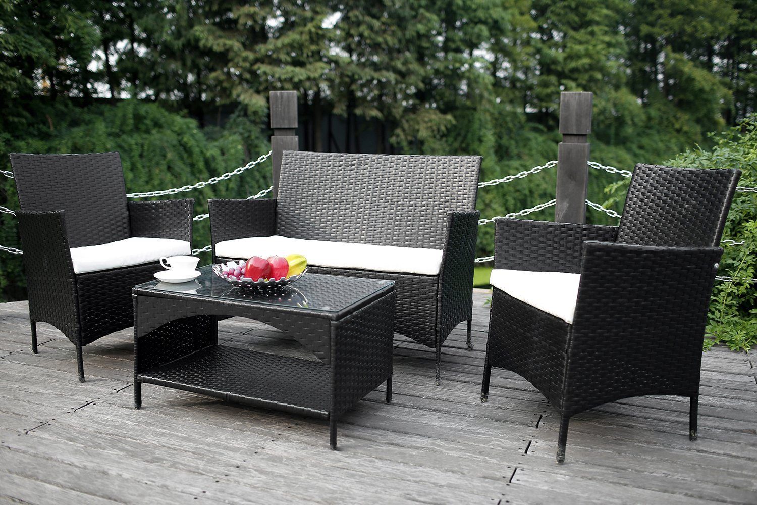 Amazon.com: Merax 4 Piece Outdoor Patio PE Rattan Wicker Garden Lawn ...