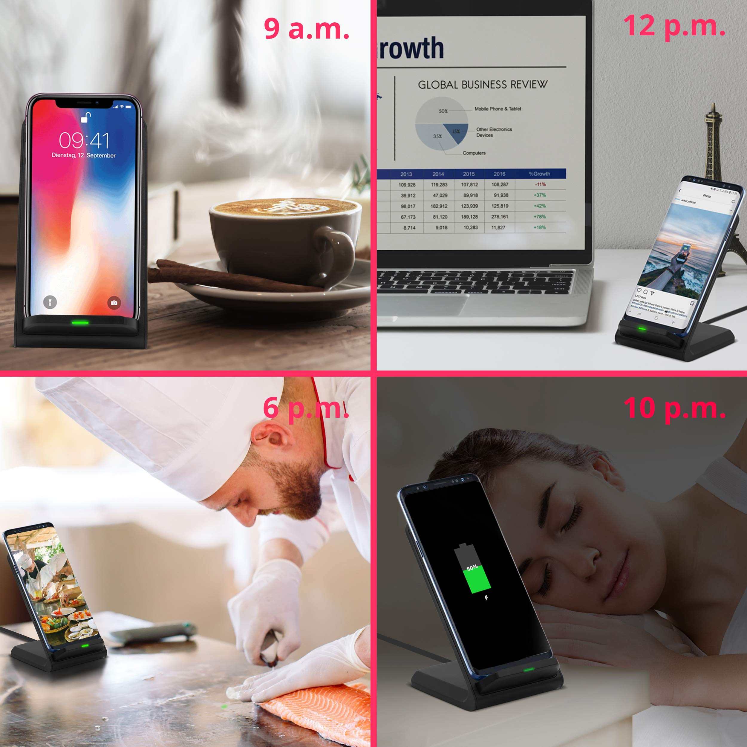 Smart|Tech Wireless Charger, PowerWave Stand Qi-Certified for iPhone 11, 11 Pro, 11 Pro Max, XR, Xs Max, XS, X, 8, 8 Plus 10W Charging for Samsung Galaxy S10 S9 S8 S7 Note 10 and More (No AC Adapter)
