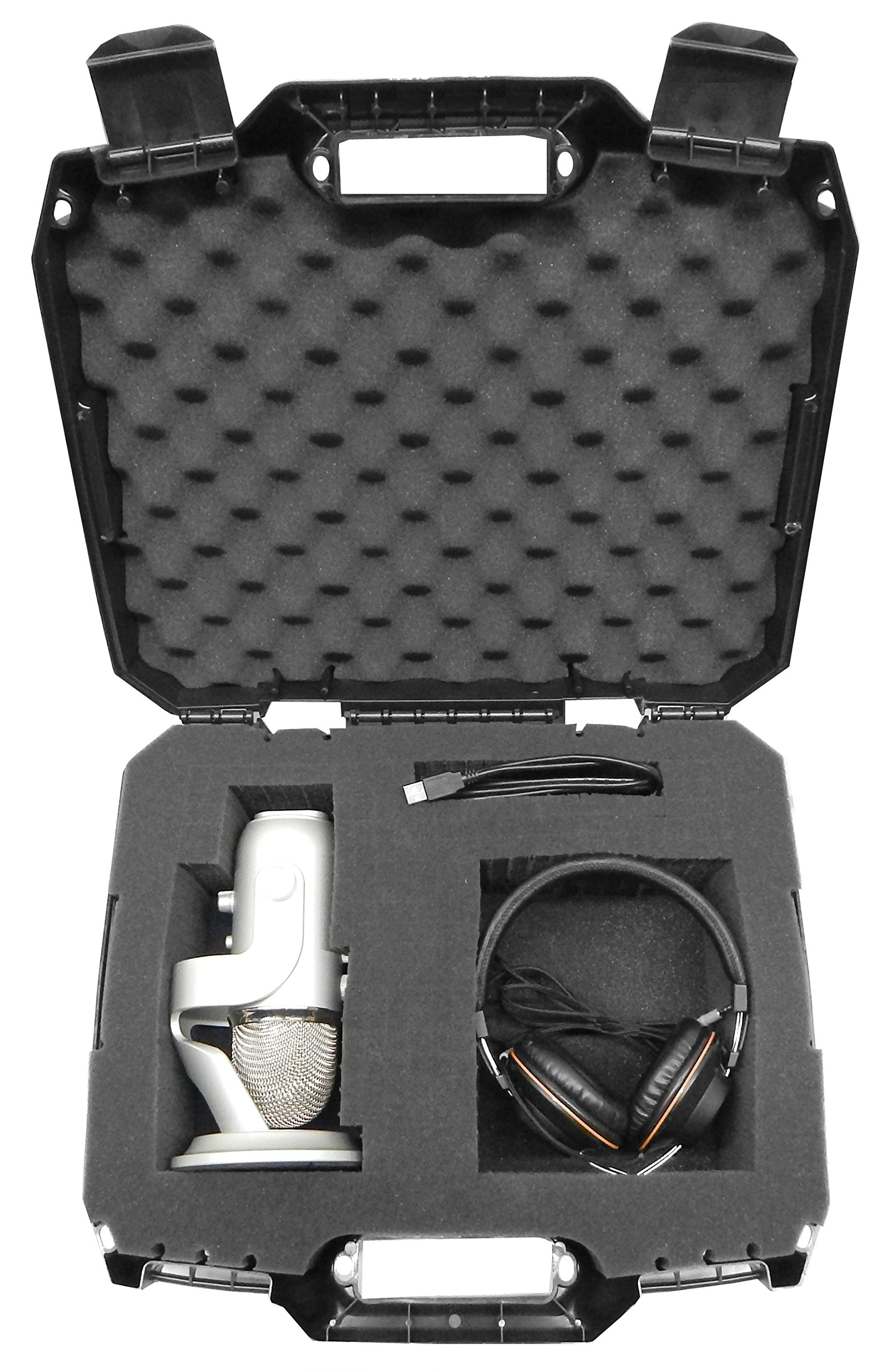 Casematix Microphone and Recording Equipment Carry Hard Case with Customizable Foam Fits Blue yeti Microphone, Headphones, Pop Filter, Shock Mount, Windscreen and More Mic Accessories by CASEMATIX