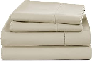 400 Thread Count 100% Cotton Sheet-Oyster Grey-Queen Sheet Set,4 Piece Long Staple Combed Cotton Sheet Set, Breathable, Supremely Soft and Silky Sateen Weave, Fits Mattress Upto 18 Inches Deep Pocket