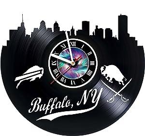 BUFFALO NY SKYLINE - Wall Clock Made Of Vinyl Record Handmade - Vintage - Home Decor -Original Gift Idea for Birthday Anniversary Christmas For Friends Men Women Girls Boys Teens & Everyone! Sport