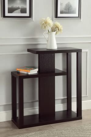 Cappuccino Finish Modern Console Sofa Entry Table Bookshelf