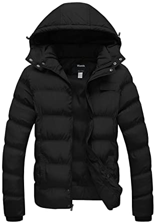 cfc25274d75 Wantdo Men s Winter Thicken Cotton Coat Puffer Jacket with Removable Hood  US X-Small Black