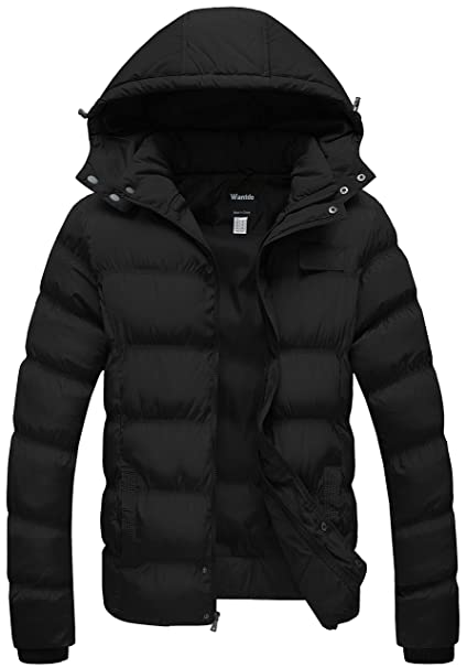 Wantdo Mens Winter Thicken Cotton Coat Puffer Jacket with Removable Hood