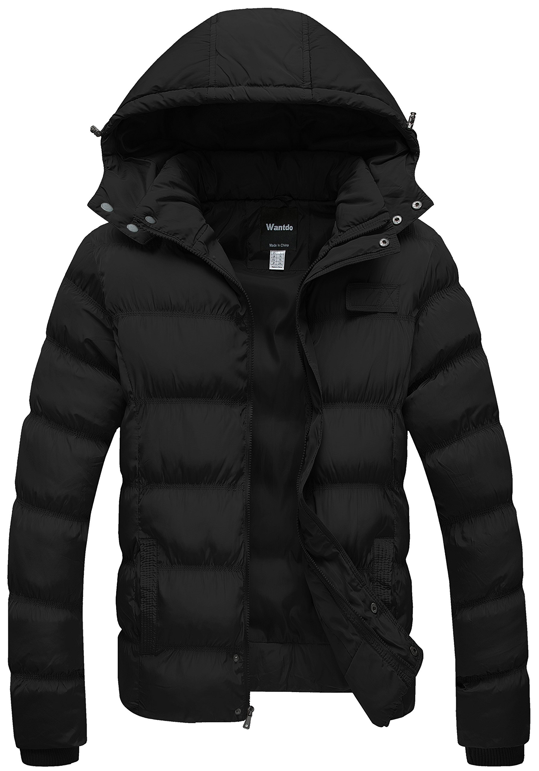 Wantdo Men's Winter Thicken Cotton Coat Puffer Jacket with Removable Hood US Large Black by Wantdo