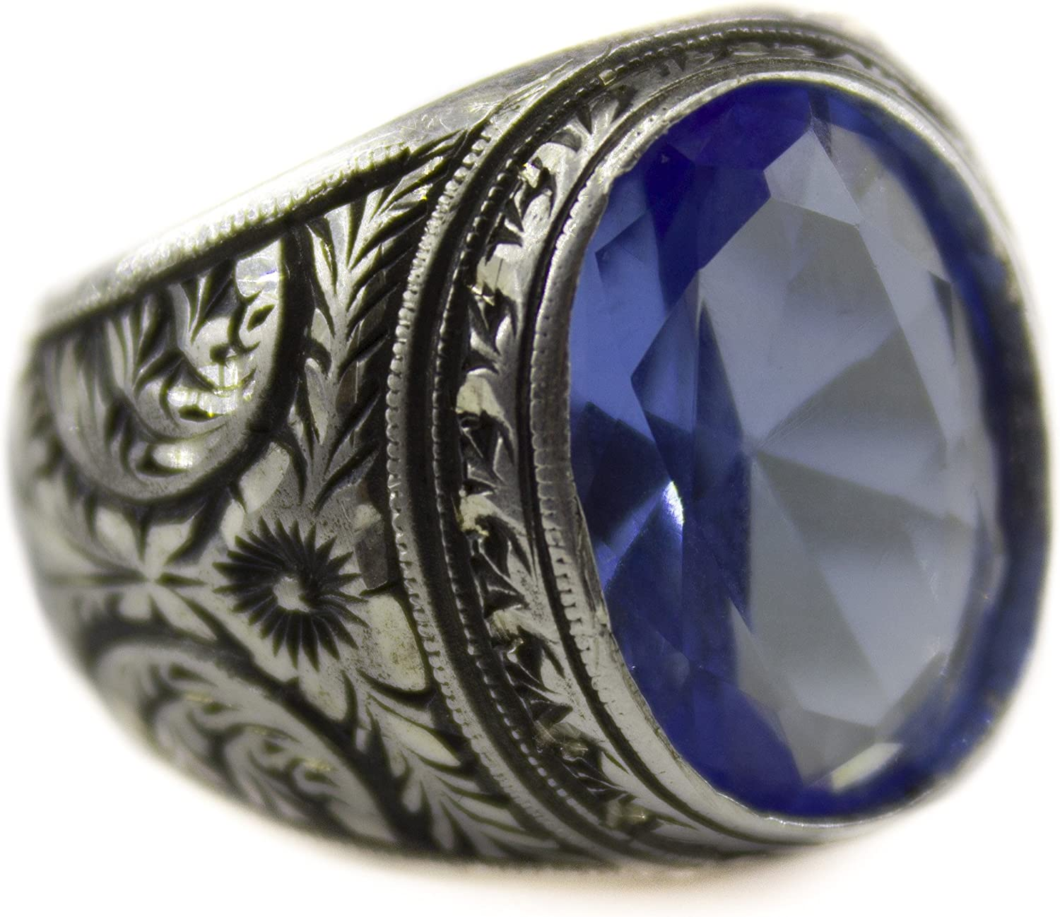 Falcon Jewelry Sterling Silver Men Ring Handmade Sterling Silver Ring Steel Pen Crafts Blue-Topaz Stone