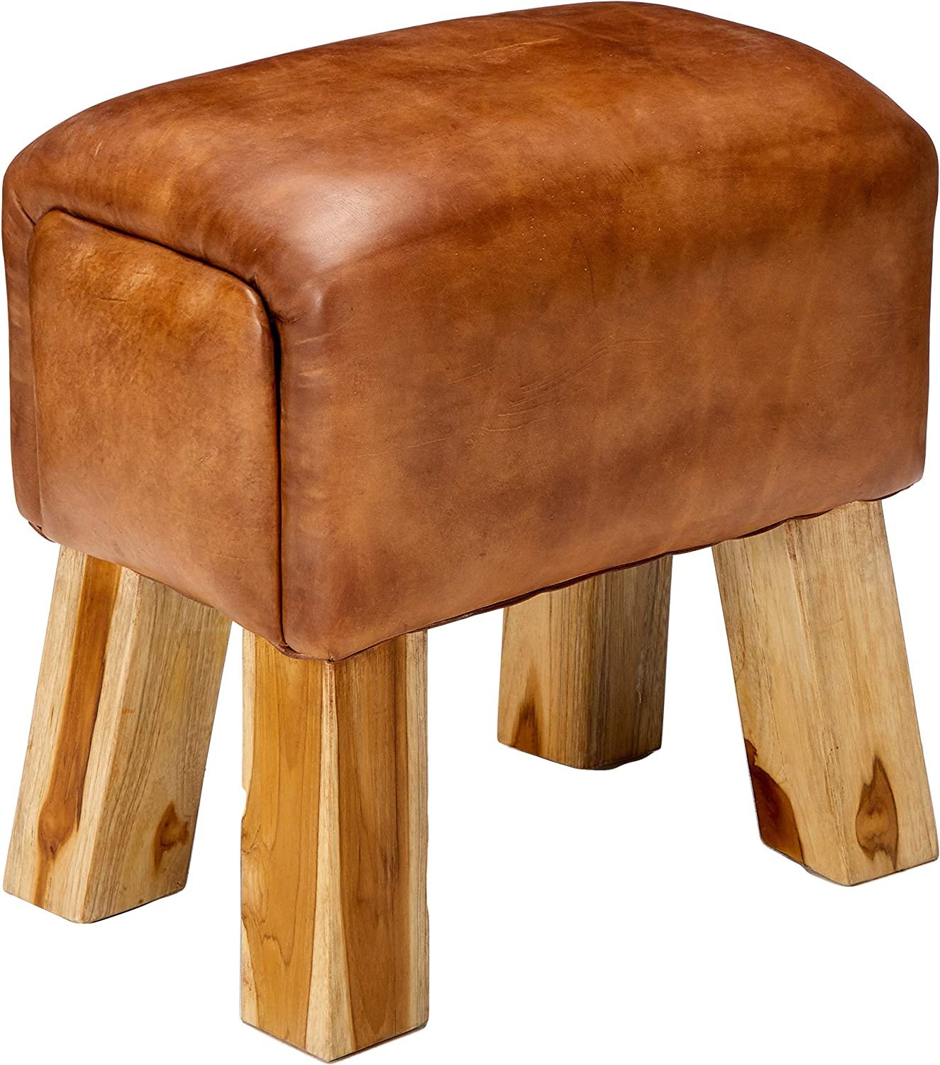 Bare Decor Gorgie Accent Stool in Brown Genuine Leather, Small
