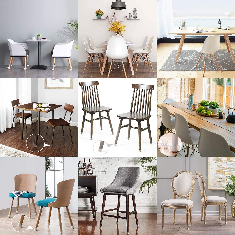 protectores de silicona para suelos de madera dura redondos//cuadrados transparente Tapones para patas de silla fundas para patas de mesa con almohadillas de fieltro