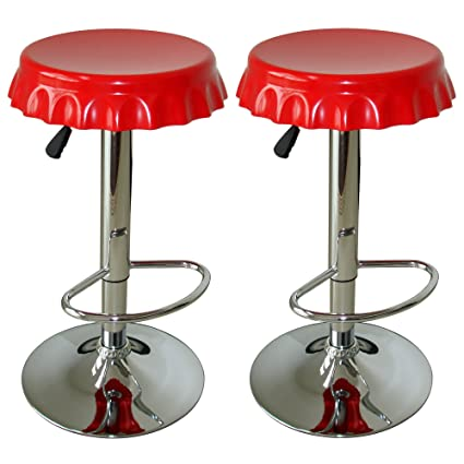 Amazon.com: Amerihome BS107SET Soda Cap Bar Stool Set, Red, 2-Piece ...