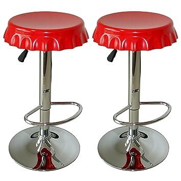 Amerihome BS107SET Soda Cap Bar Stool Set, Red, 2 Piece