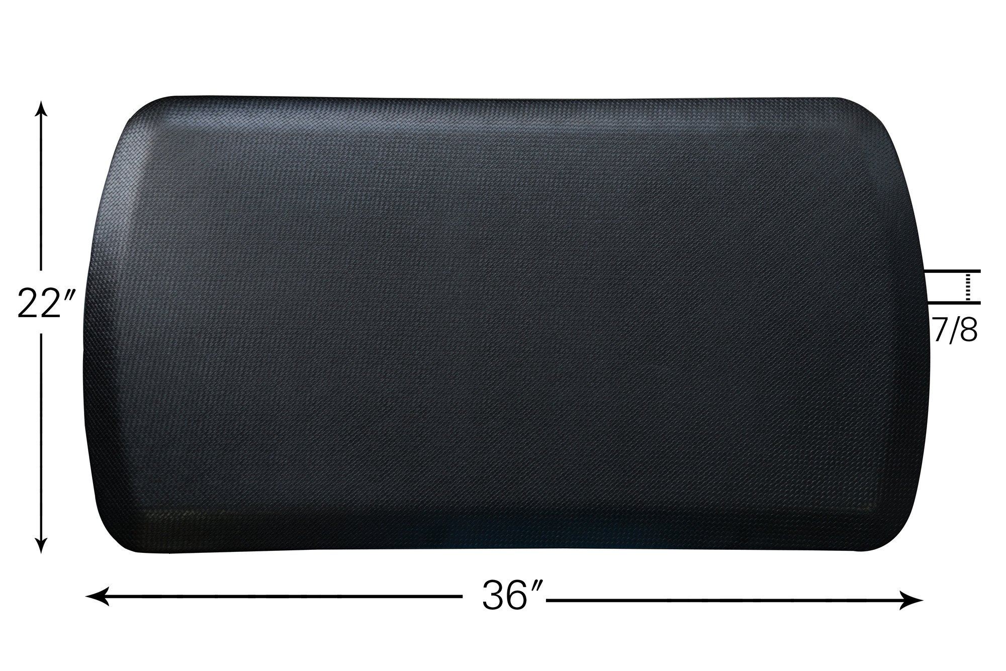 The Original 7/8'' Amcomfy Anti Fatigue Comfort Mat 22x36 In for Kitchens Office Standing Desks and Garages, Black