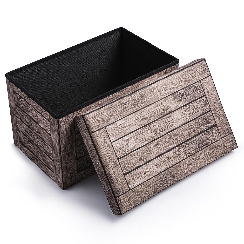 eSituro SOM0034 Sitzbank Sitzhocker Aufbewahrungsbox Sitzm/öbel mit Stauraum Deckel Abnehmbar Stoffbezug Dunkelbuche