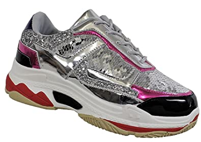 590afe0b9bc Yoki Tubuler-04 Women s Chunky Trainer Sequin Lace Up Fashion Sneaker
