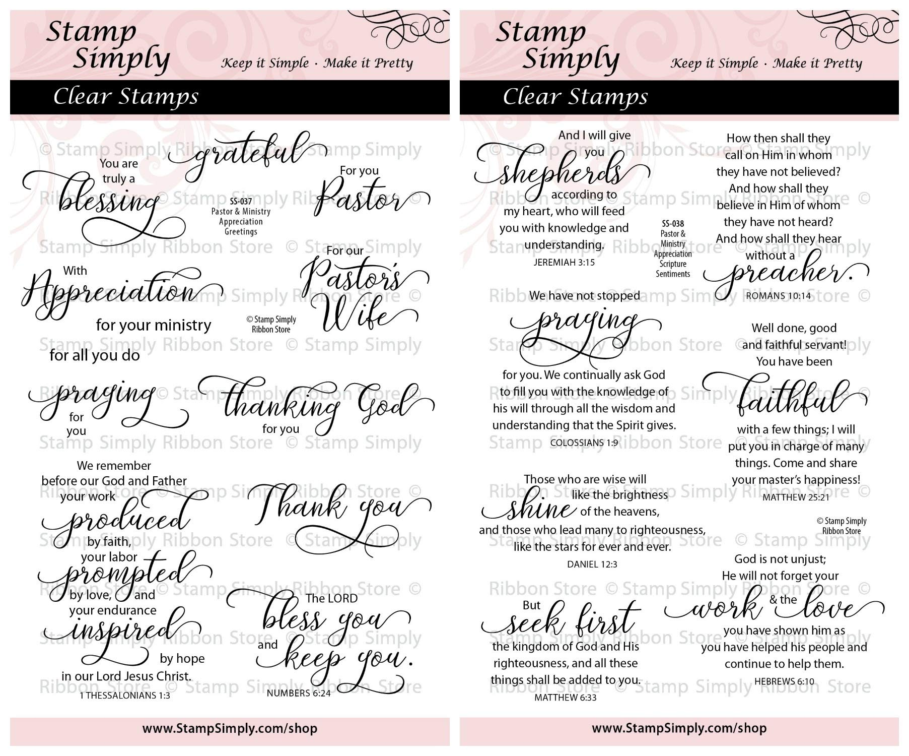 Stamp Simply Clear Stamps Pastor and Ministry Appreciation Greetings Christian Religious (2-Pack) 4x6 Inch Sheets - 19 Pieces by Stamp Simply