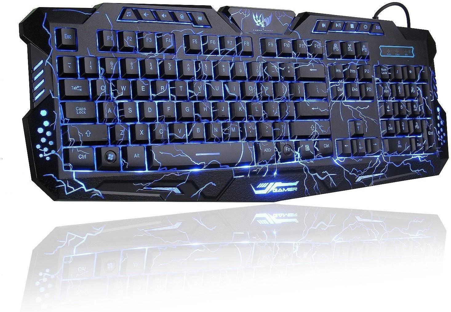 Vaorwne LED 3 Color Backlight//Crackle M-200 Multimedia Ergonomic USB Gaming Keyboard