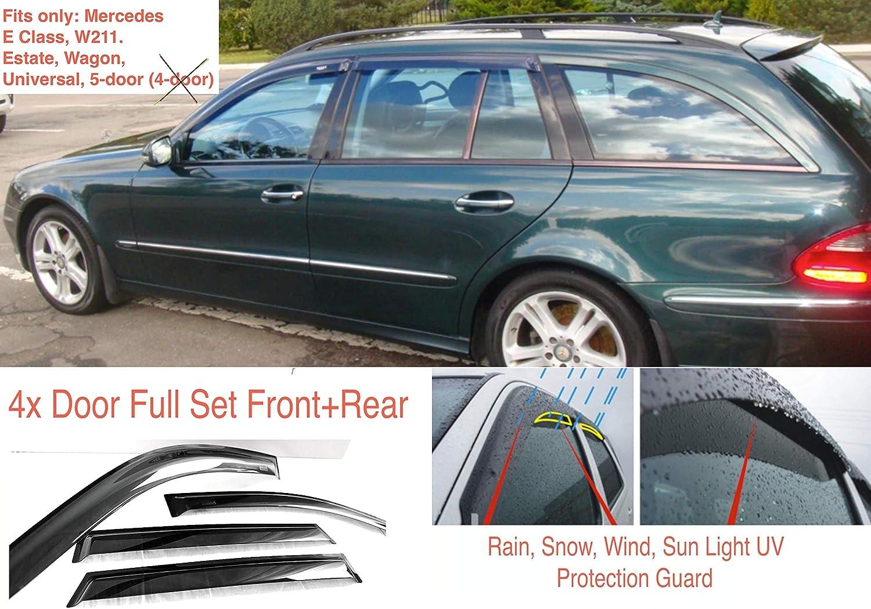 4 deflettori d/'Aria compatibili con Mercedes Benz Classe E W211 5 Porte Universale Station Wagon 2004 2005 2006 2007 2008 2009 Vetro Acrilico parafanghi AC WOW