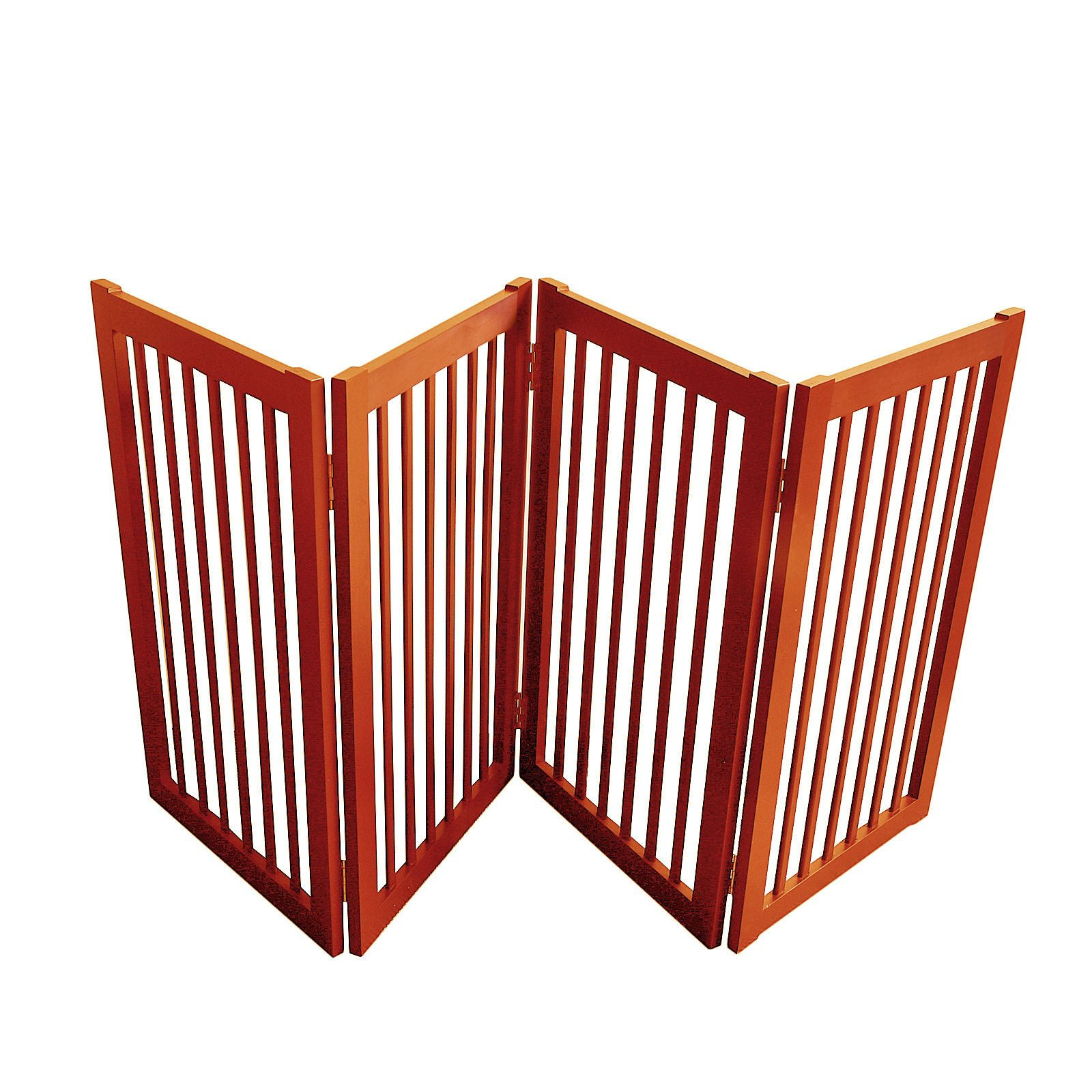 WELLAND Wood Freestanding Pet Gate Dog Gate (72-Inch, Light Cherry)