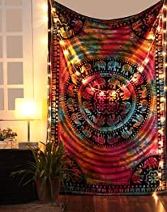 "Tie Dye Hippie Mandala Tapestry - Twin Bohemian Elephant Tapestries Indian Psychedelic Dorm Decor Ethnic Decorative Wall Hanging - Multicolor - 84"" X 54"""