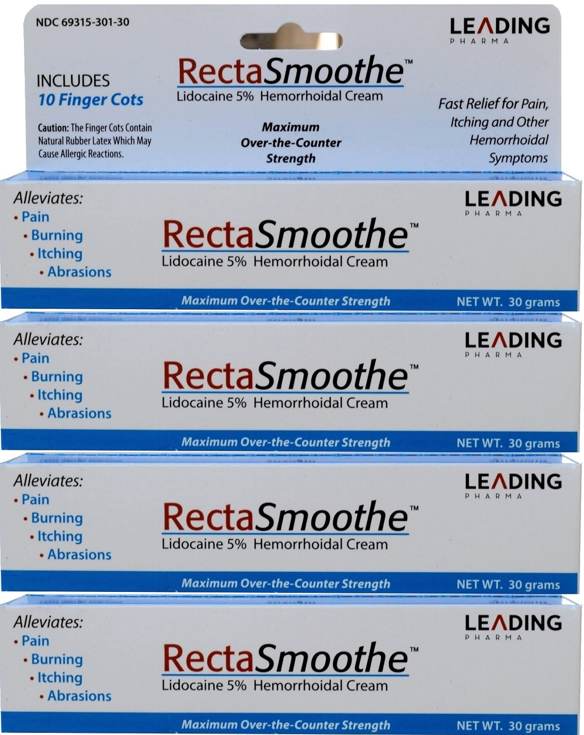 RectaSmoothe Lidocaine 5% Hemorrhoidal Anesthetic Cream, Fast Pain Relief for Hemorrhoids and Other Anorectal Disorders 1 oz. Per Tube PACK of 4 by RectaSmoothe