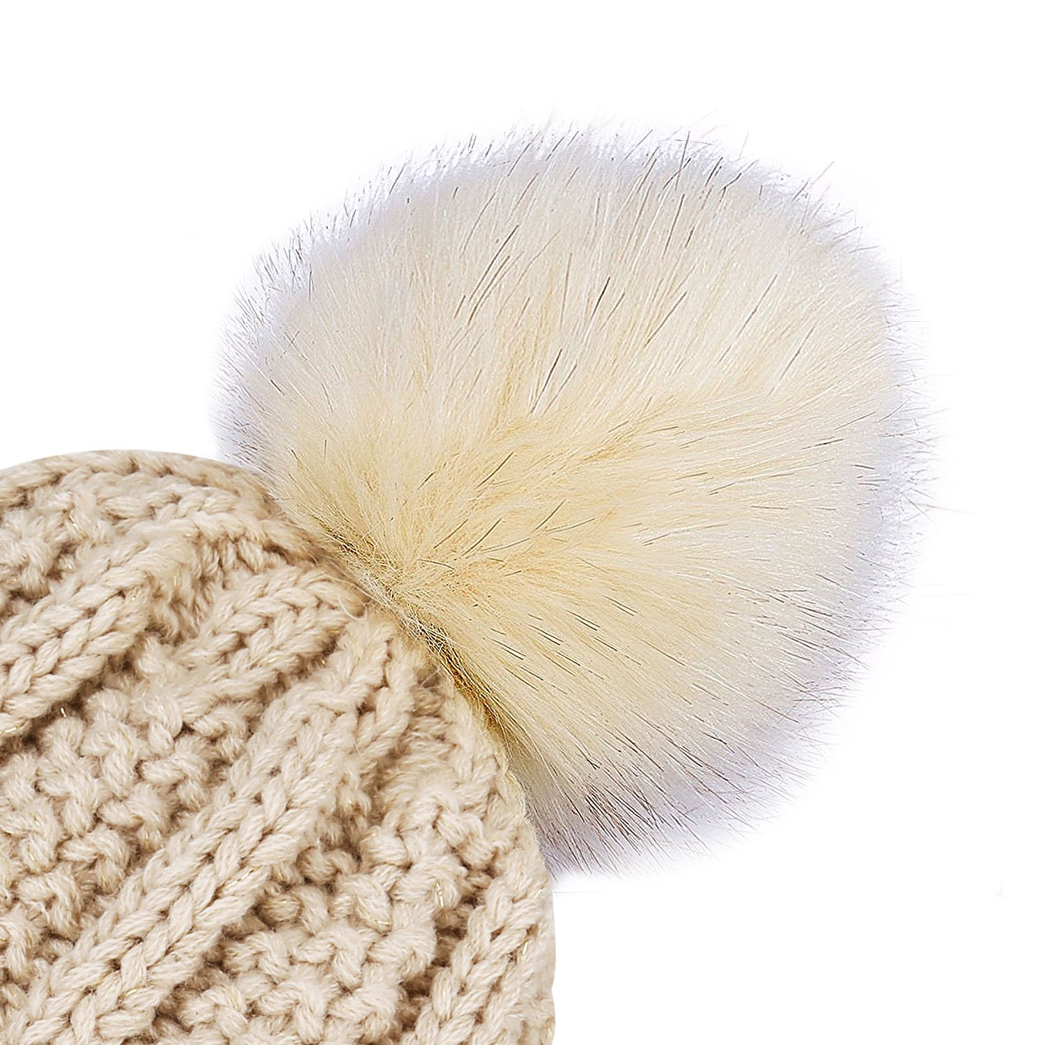Women\'s Winter Warm Pom Pom Beanie Hat,Proking Warm Hand Knit Fleece Lined Beanie Hats for Women,Thick Slouchy Knie Snow Skull Ski Caps for Ladies(Beige)