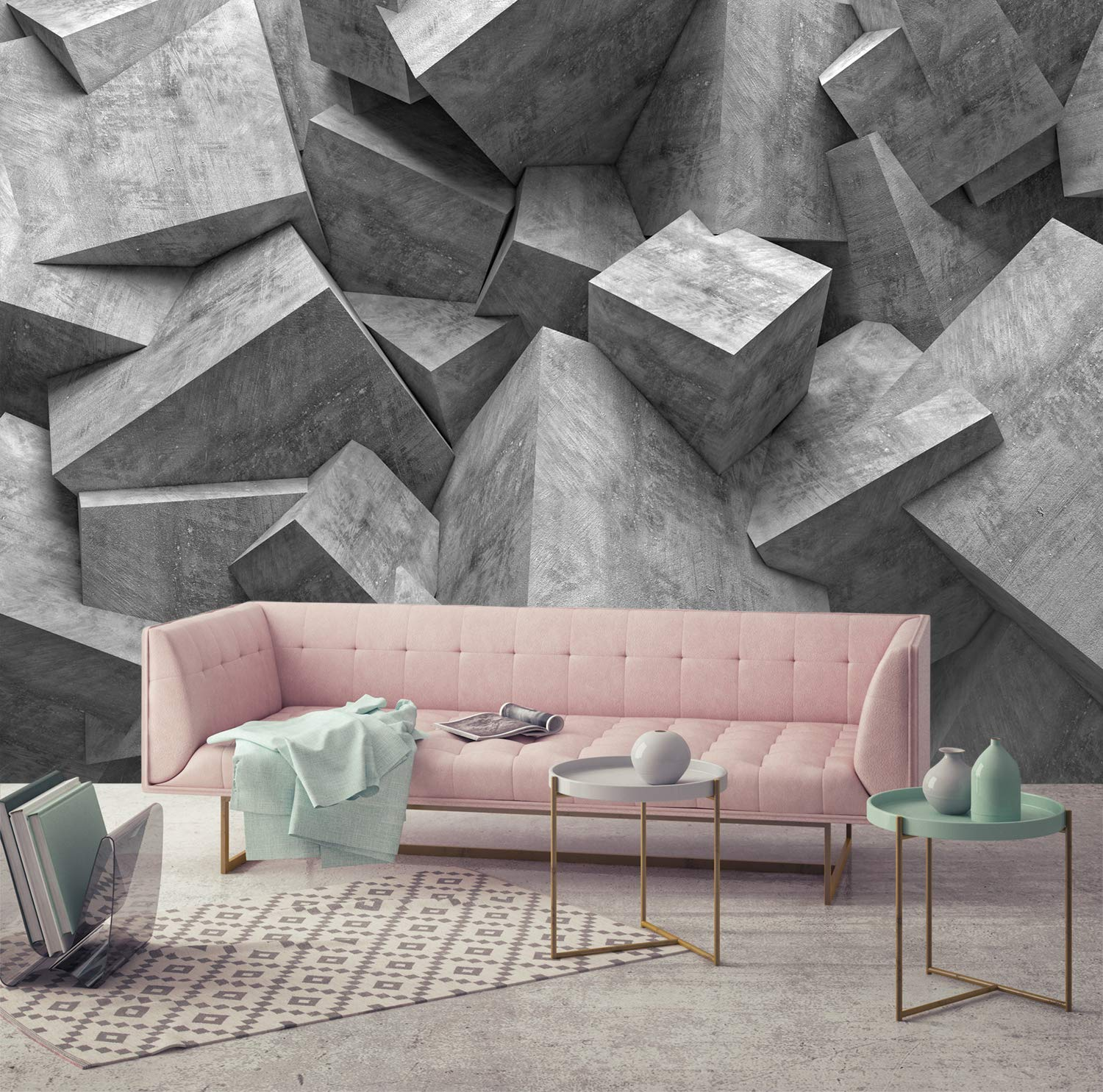 Amazon Com 3d Grey Cube Depth Wallpapers Print Painting Home Decor Wall Decor Removable Peel And Stick Wallpaper Office Wallpaper Living Room Wallpaper Peel And Stick I Custom Size Handmade