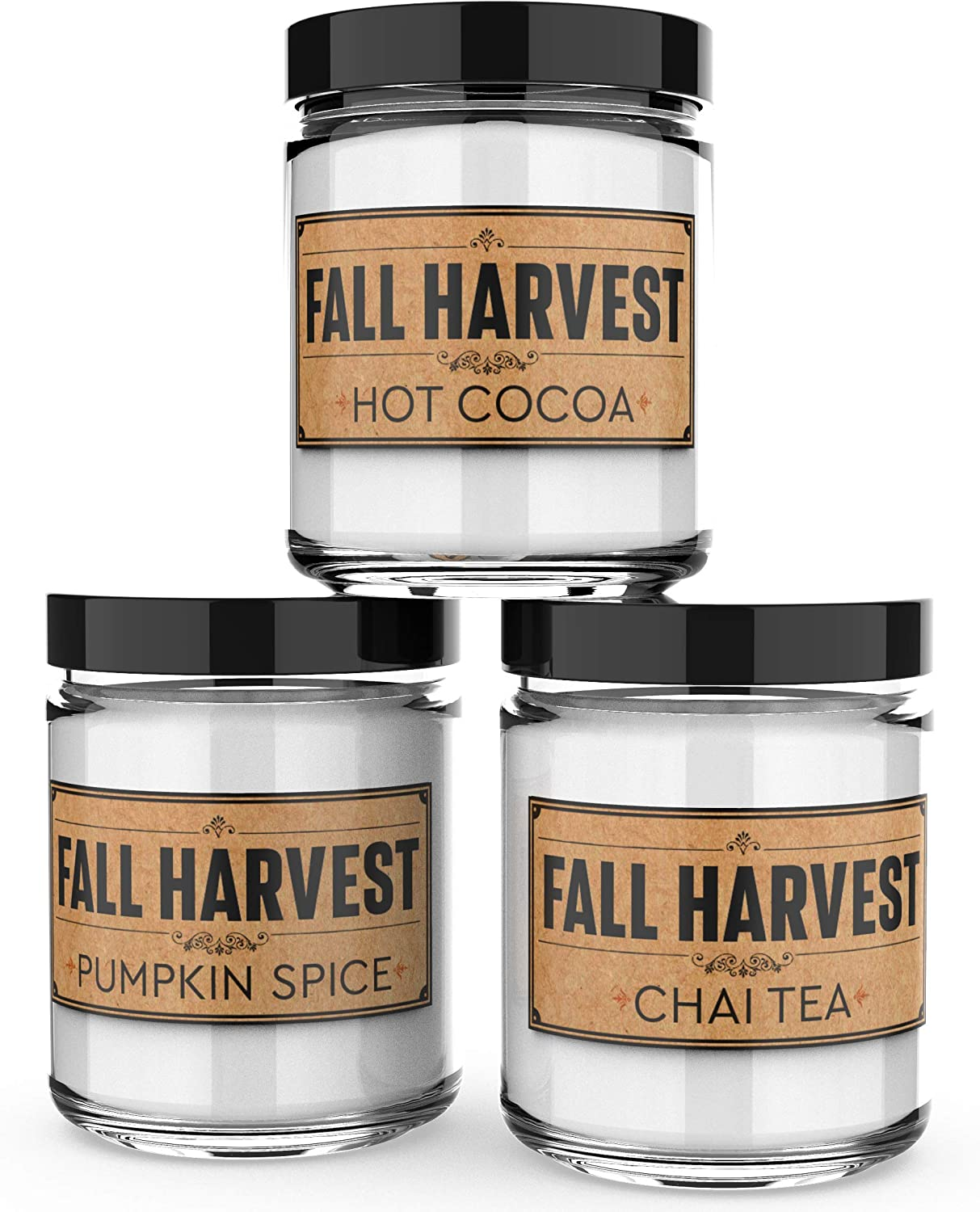 Amazon Com Scented Candles Fall Harvest Set Of 3 Hot Cocoa Pumpkin Spice And Chai Tea 3 X 4 Ounce Soy Candles Each Votive Candle Is Handmade In The Usa