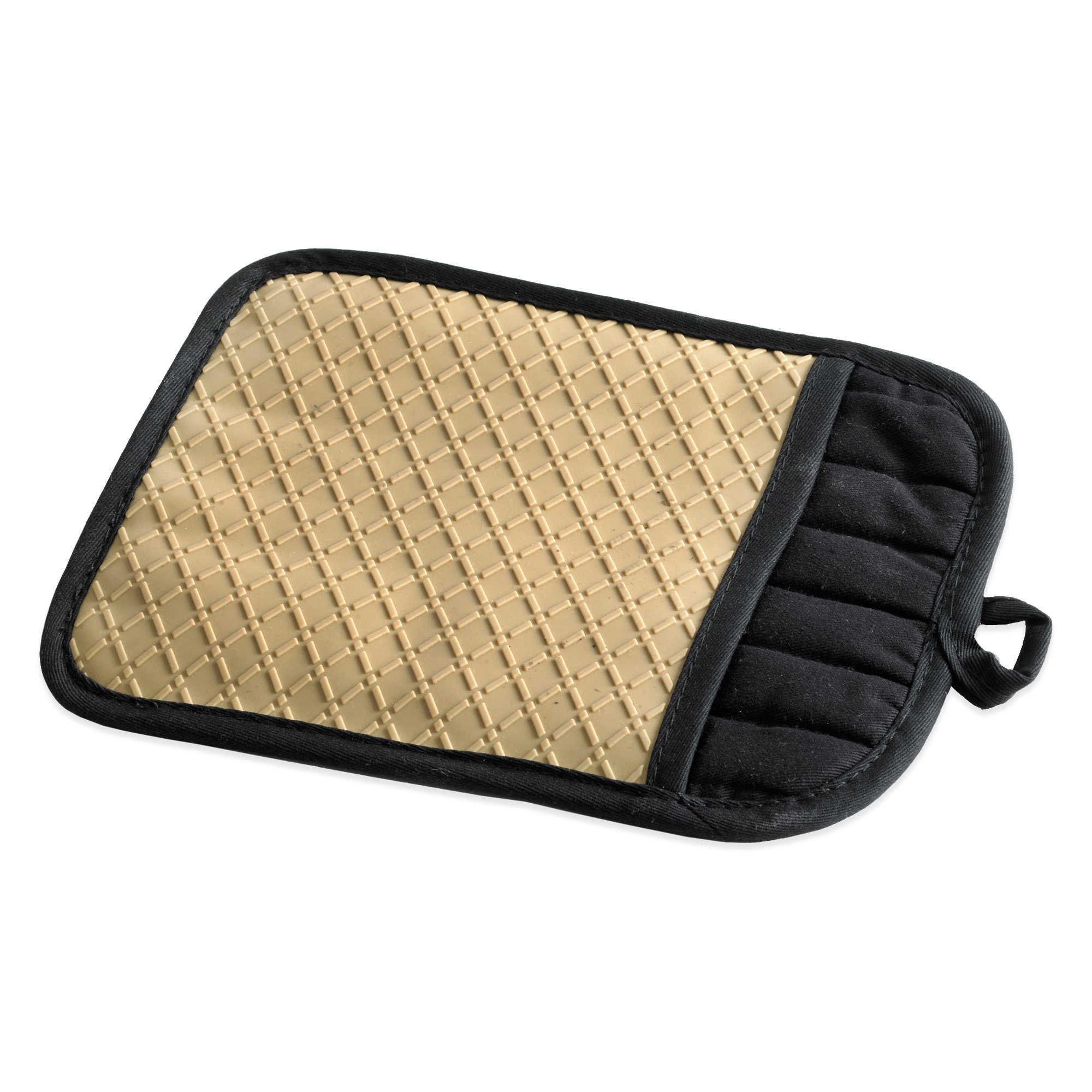 Pot Holder. Silicone Quilted Crafted from 100% Silicone Lining and Safe to use up to 500 degrees Fahrenheit Pack of 2,(Biscotti)