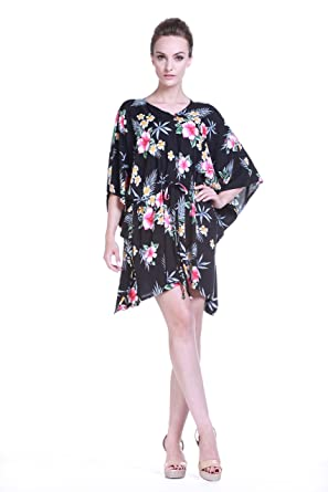 Tropical Groups Womens Hawaiian Poncho with Tie Dress in Hibiscus Black