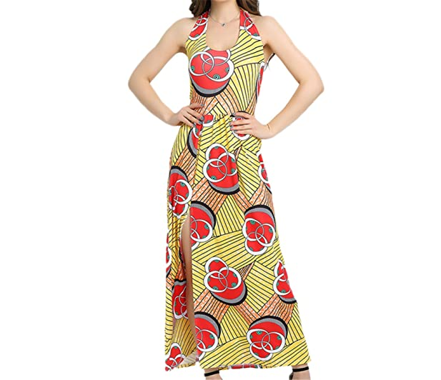 Eloise Isabel Fashion women casual summer long maxi vestidos divisão palácio imprimir backless sexy clube vestidos