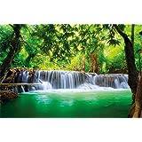 Mural Paradise Cascata nel fiume foresta giungla Tailandia Kanchanaburi Si Sawat XXL 210 centimetri x 140 centimetri paradiso tropicale cascata
