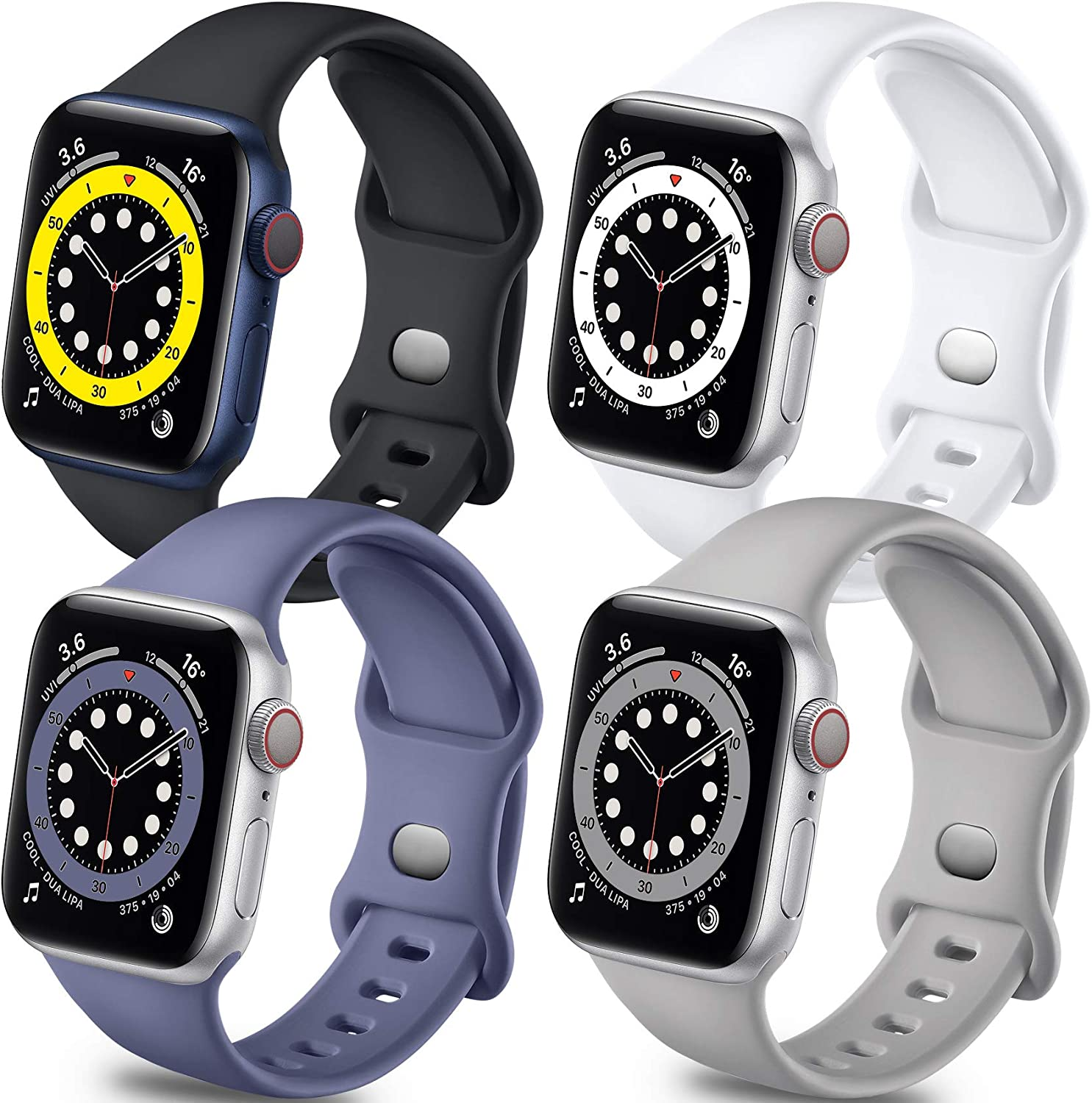 Getino Sport Band Compatible with Apple Watch 40mm 38mm for Women Men, Stylish Durable Soft Silicone Bands for iWatch SE & Series 6 5 4 3 2 1, 4 Pack, Black, White, Pebble Gray,Blue Gray, M/L