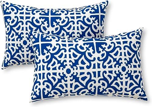Greendale Home Fashions AZ5811S2-INDIGO Azure Outdoor Rectangle Throw Pillow Set of 2