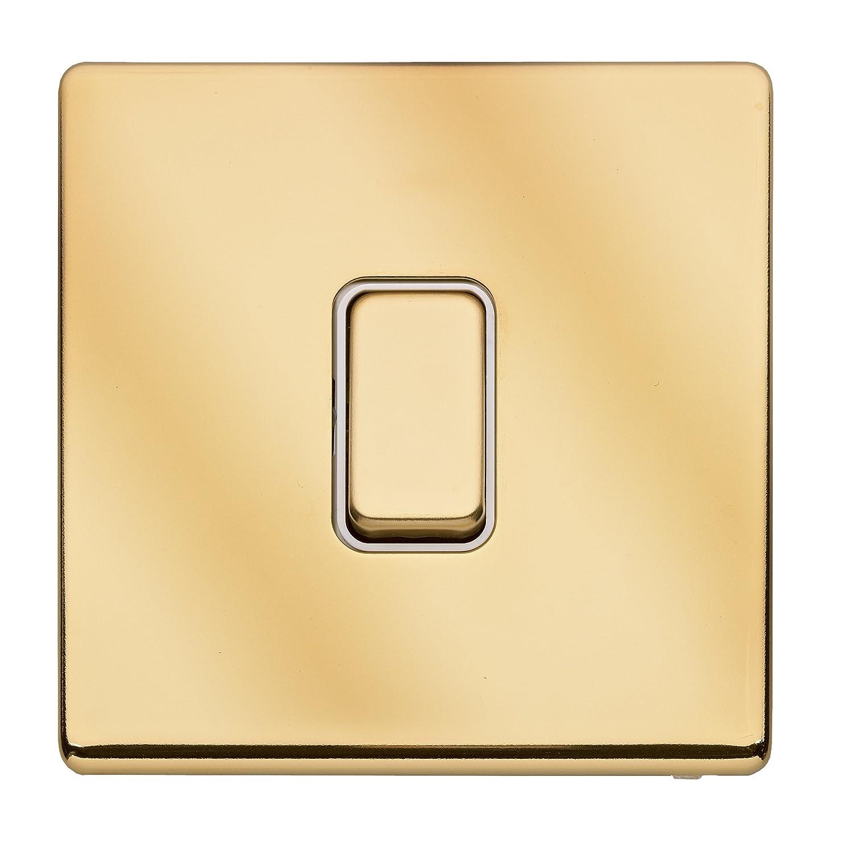 MK Electric K24371PBRW Aspect 1 Gang 2 Way SP Polished Brass Switch with Insert Honeywell