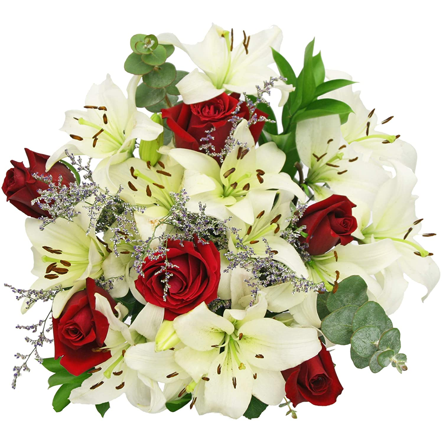 Amazon Red Roses And White Lilies Bouquet Fresh Cut Format