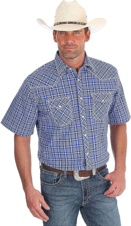 Mjc098m Wrangler Mens 20X Navy Competition Short Sleeve Western Shirt