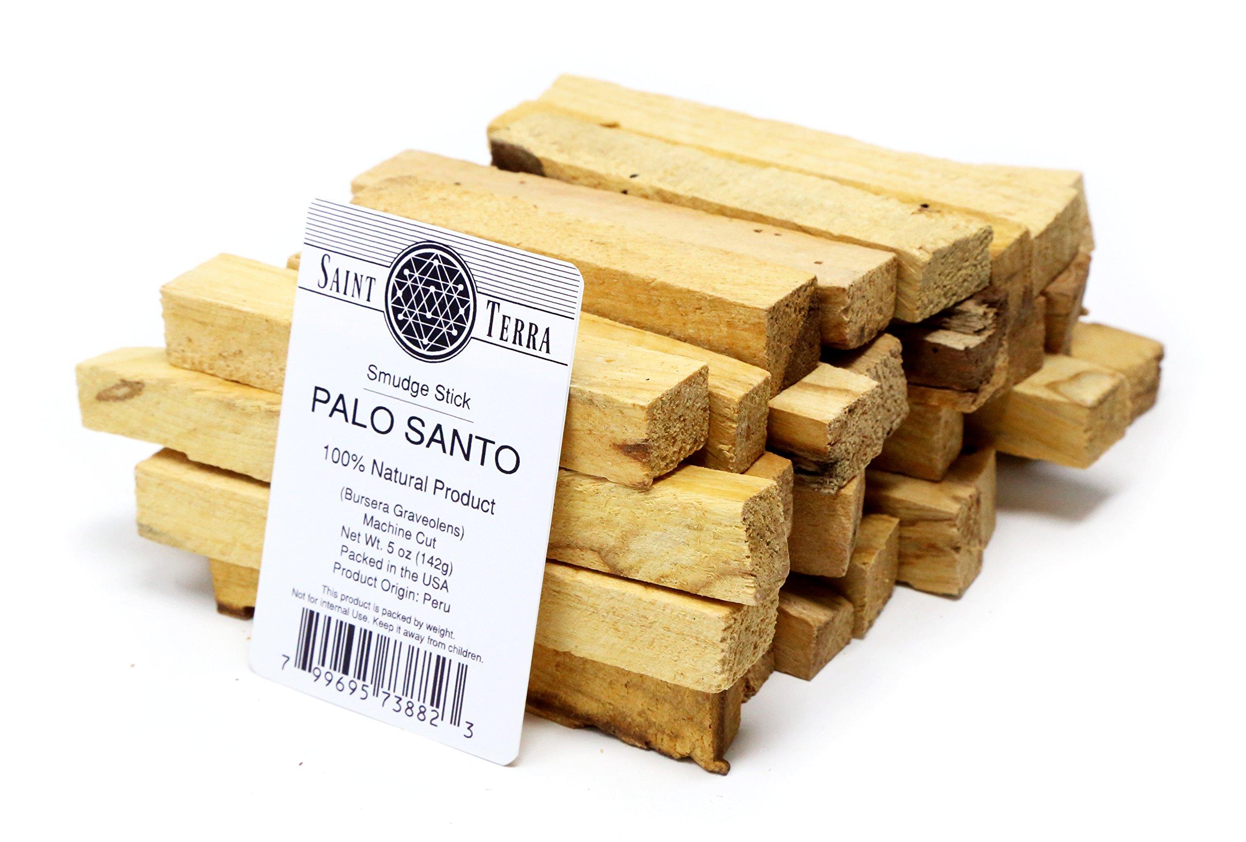 Saint Terra Premium Palo Santo (Holy Wood) 5 oz Pack Machine Cut Smudge Stick - 100% Natural
