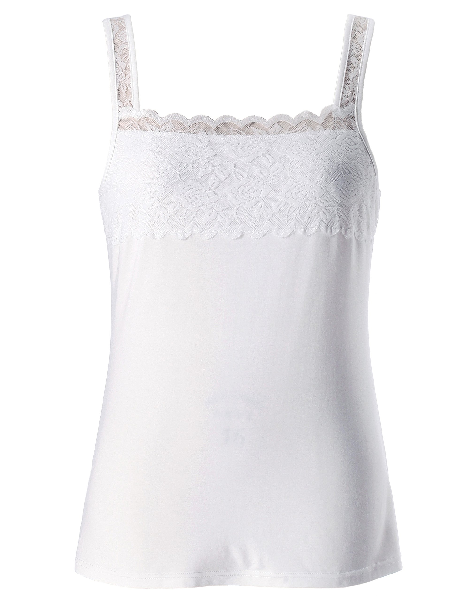 Chicwe Women's Plus Size Stretch Modal Camisole Top with Lace Square Neck White 4X