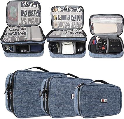 BUBM Estuches para Cables Bolsa para Aparato Electronico 3 Piezas para Guardar Memorias de USB Bolso de Ordenados Baterias Gadgets, Azul: Amazon.es: Electrónica