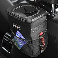 HOTOR Car Trash Can with Lid and Storage Pockets, 100% Leak-Proof Car Organizer, Waterproof Car Garbage Can…