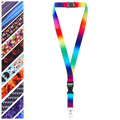 Rolseley Lanyard Neck Strap RAINBOW Pattern With Metal Clip And Safety Breakaway