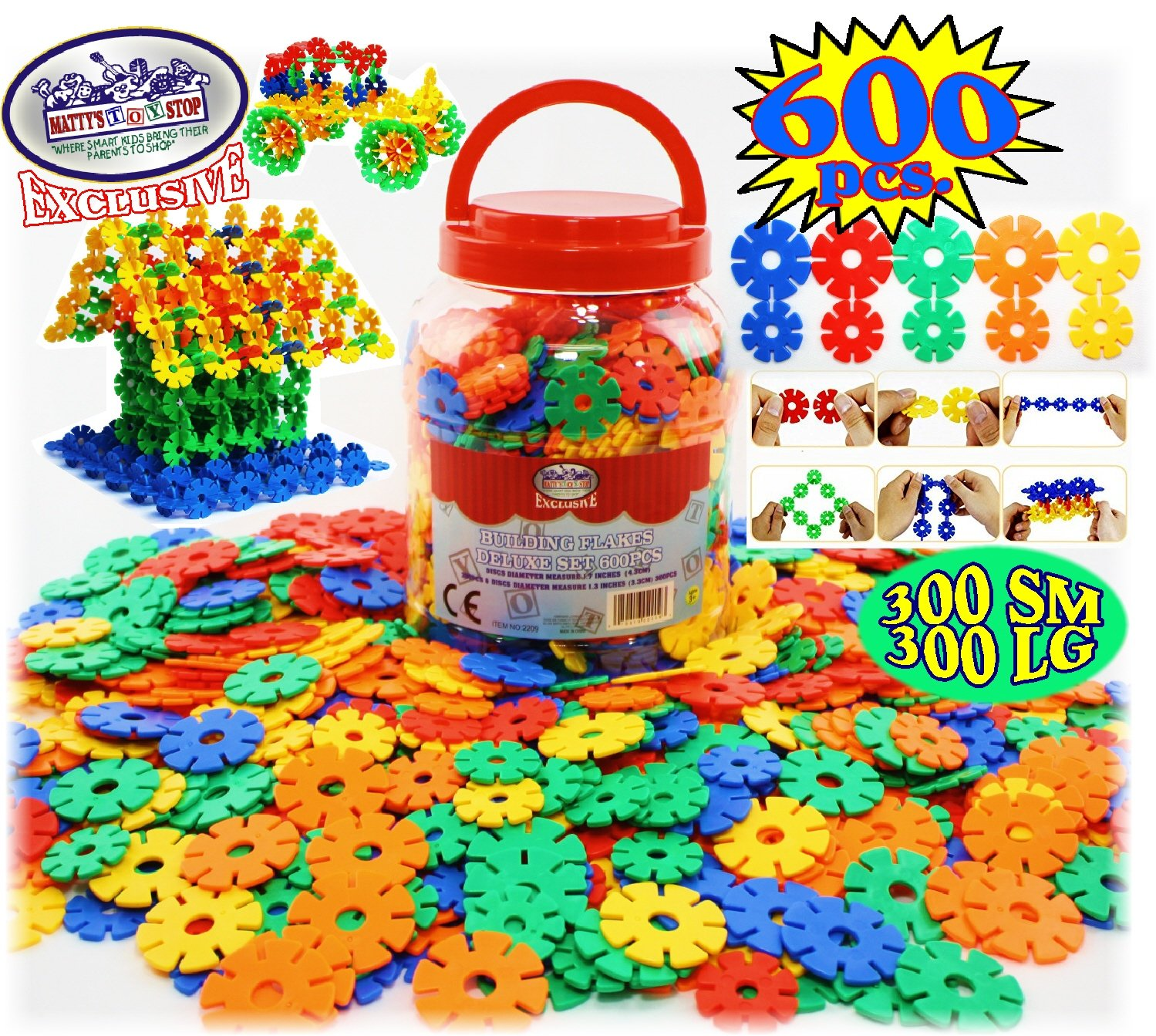 Creative /& Educational Interlocking Building Set Mattys Toy Stop Deluxe Building Flakes//Discs 600 Pieces Great STEM Toy Includes Storage Bucket Homeware Featuring 300 Small /& 300 Large