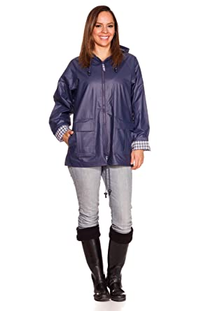 Amazon.com: Rain Slicks Women's Classic Look Raincoat Hooded Plaid ...