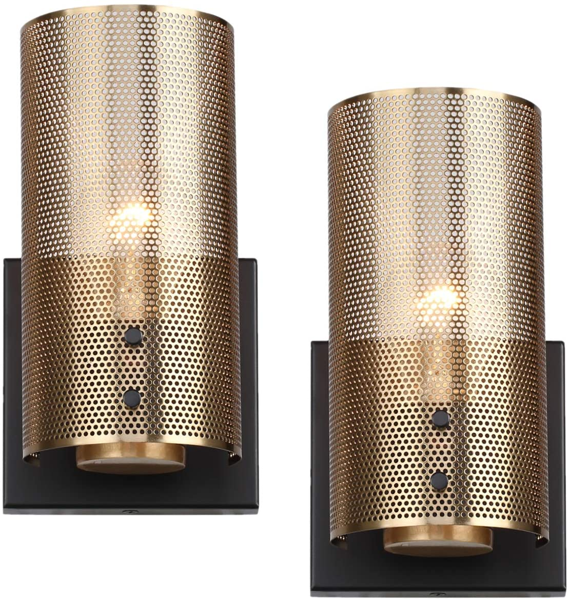 Hamilyeah Industrial Wall Sconces Set of Two, Vintage Brass Gold Sconces Wall Lighting Fixture with Grid Mesh Shade, Indoor Hardwired Wall Sconces for Bedroom Home Theater Bathroom, UL Listed