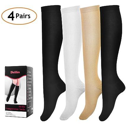 18e35f6ac8 Amazon.com: Deilin Compression Socks for Women & Men (4 Pairs), Graduated Compression  Sock 15-20 mmHg for Medical, Running, Edema, Varicose Veins, Travel, ...