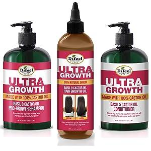 Difeel Ultra Growth Shampoo, Conditioner & Hair Oil 3-PC Set - Includes Ultra Growth Shampoo 12 oz, Conditioner 12 oz. and Hair Oil 8 oz.
