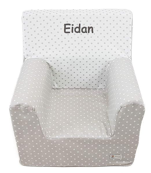Borda y más Sillón o Asiento Infantil Personalizado de Espuma para bebés y niños. Varios Modelos y Colores Disponibles. (Estrellas Gris)