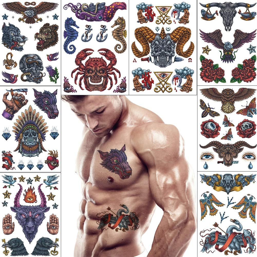 VIWIEU Stylish Devil Theme Temporary Tattoos 8 Sheets for Adults Women Men, Fake Demon Dragon Skull Goat Head Owls Scorpion Body Stickers for Halloween Costume Party Freak Show Body Decoration