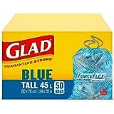 Glad Blue Recycling Bags - Tall 45 Litres - ForceFlex, Drawstring, 50 Trash Bags