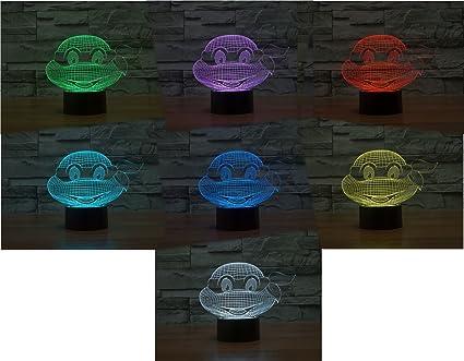 Las tortugas Ninja tacto Interruptor 3d acrílico LED lámpara ...
